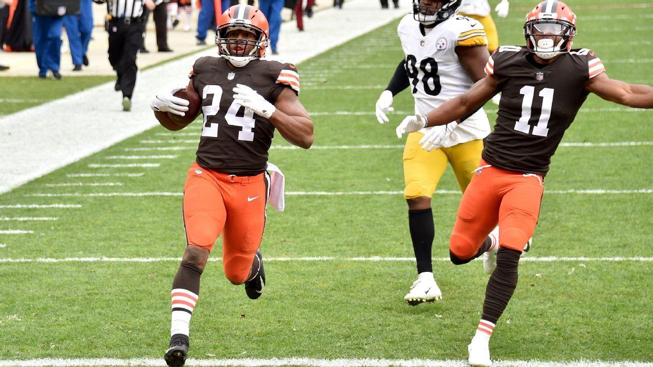 Browns' Nick Chubb goes over 1000 yards on season with 47-yard TD run vs. Steelers – ESPN