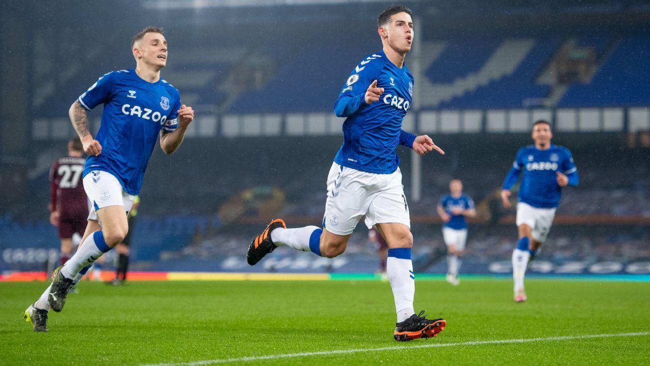 Un golazo y mucho trabajo: los números de James Rodríguez en Everton ante Leicester