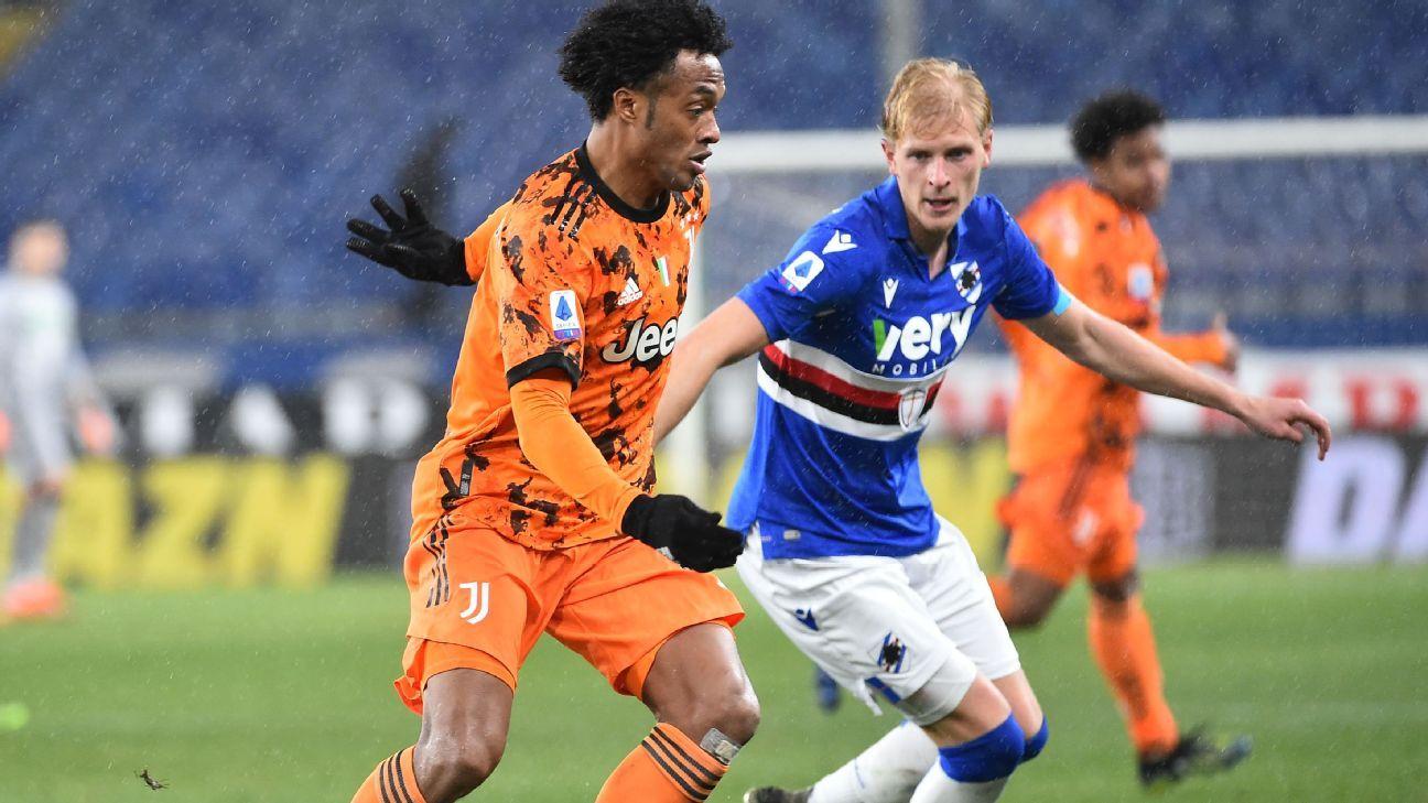 Cuadrado de nuevo protagonista en los goles de Juventus ante Sampdoria