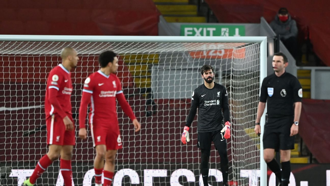 Alisson 2/10 as Liverpool's title hopes suffer a hammer blow with home defeat to City - ESPN India
