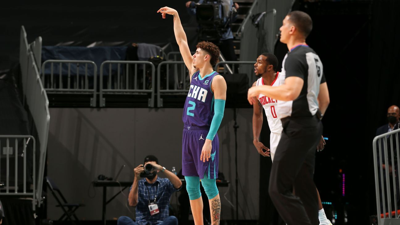 Charlotte Hornets rookie LaMelo Ball goes off for big night against Houston Rockets - ESPN