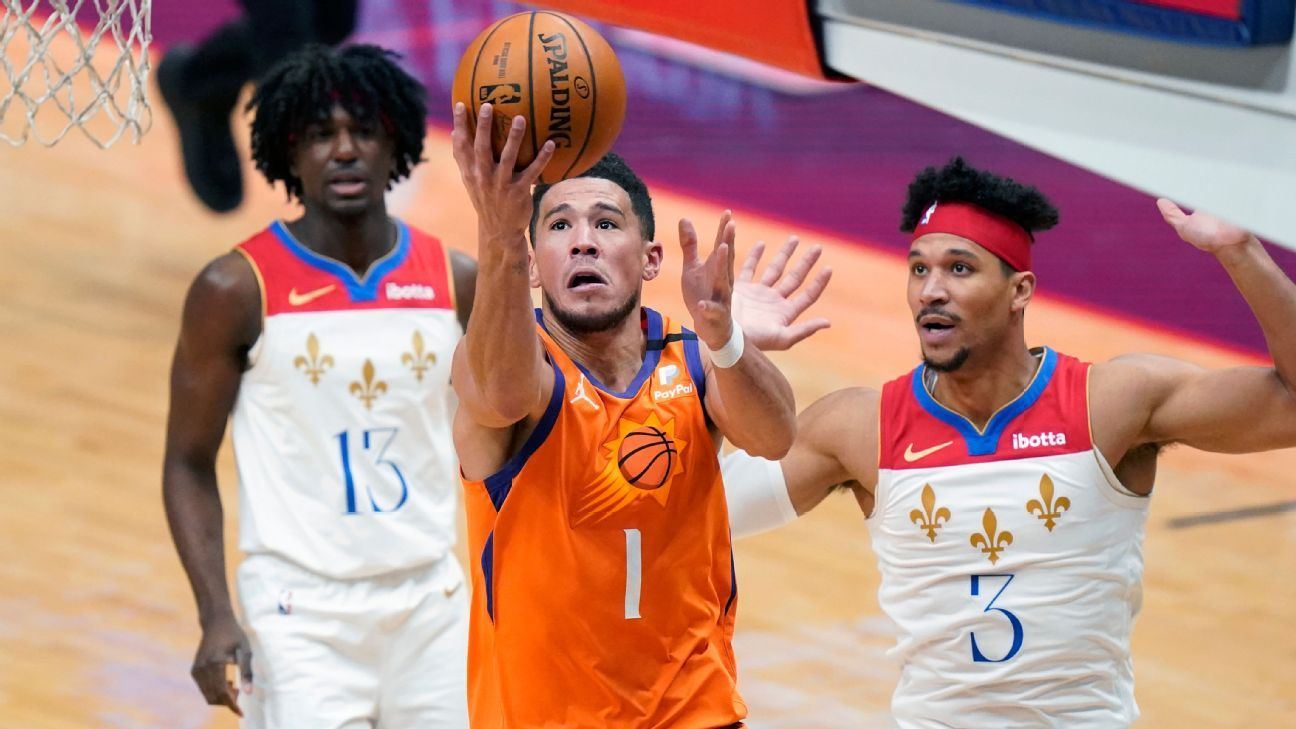 Phoenix Suns' Devin Booker to replace injured Los Angeles Laker Anthony Davis in All-Star Game