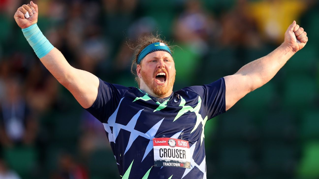 Ryan Crouser throws 76 feet, 8 1/4 inches, breaks 31-year-old shot put world record at U.S. trials - ESPN