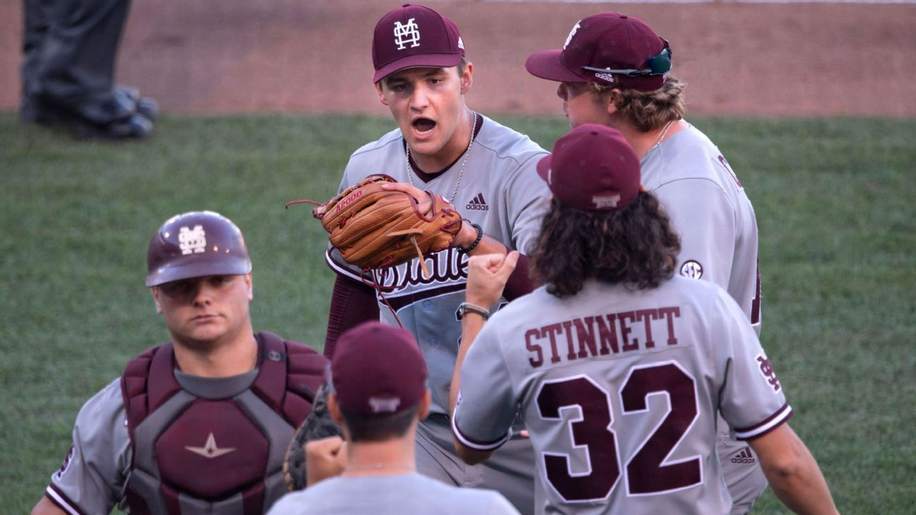 Mississippi State's Will Bednar, Landon Sims combine for CWS-record 21 strikeouts in win over Texas - ESPN