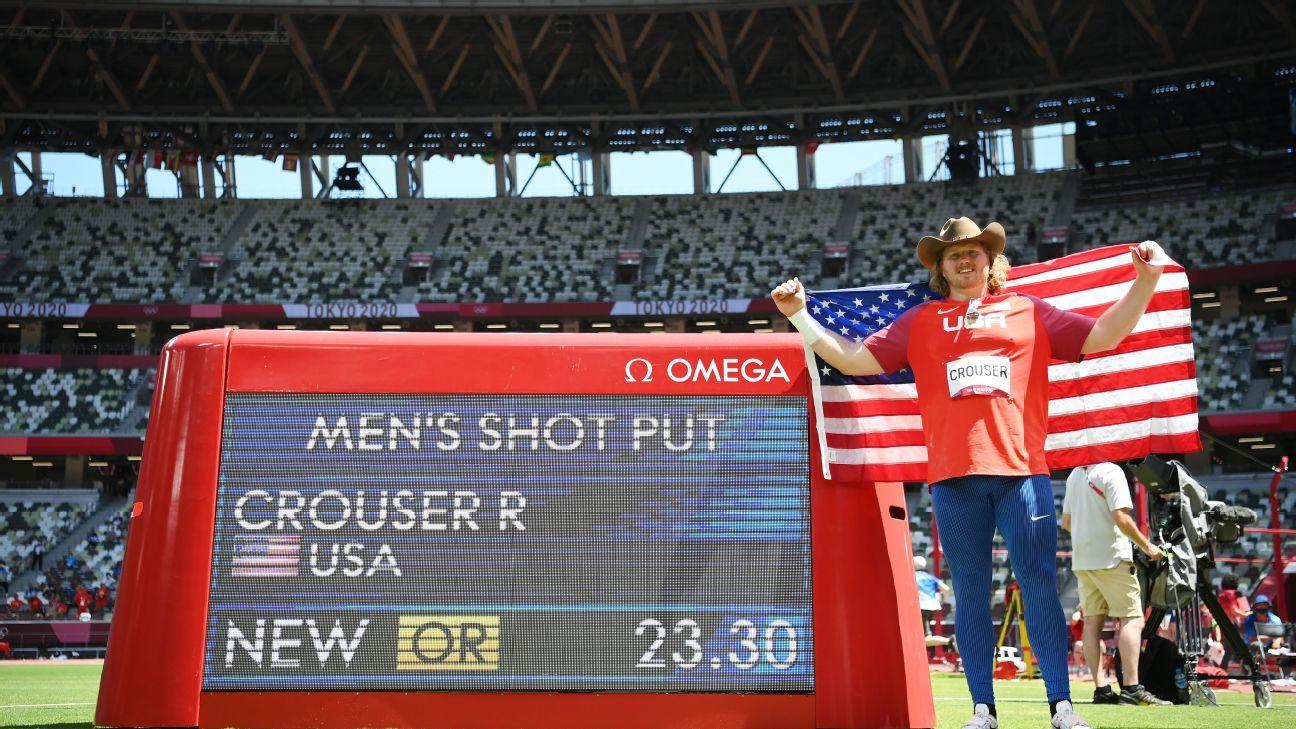 U.S.'s Crouser sets Olympic record, win shot put