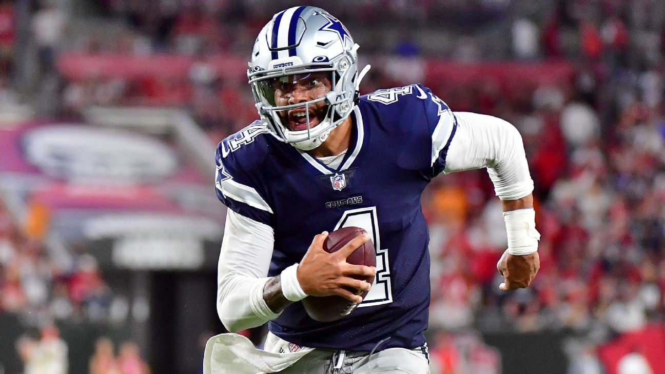 Dallas Cowboys quarterback Dak Prescott throws for 403 yards and 3 TDs in 1st game in 11 months