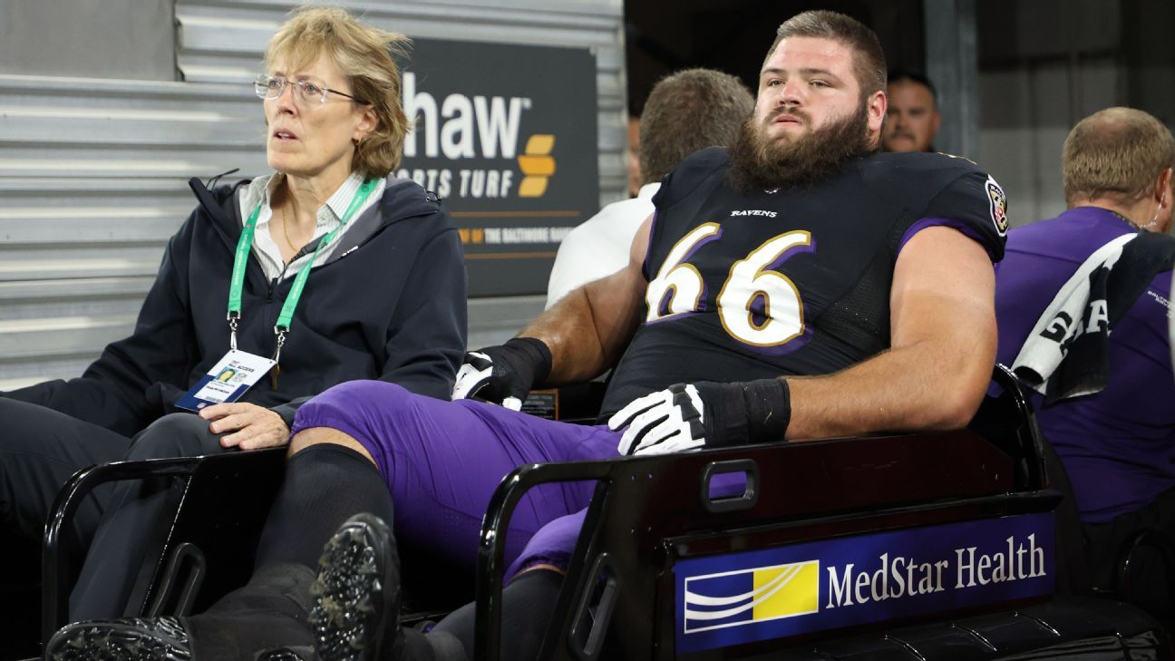 Ben Cleveland becomes 16th Baltimore Ravens player to land on IR but avoids serious knee injury - ESPN