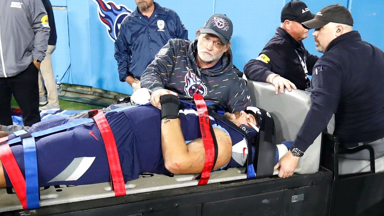 Tennessee Titans left tackle Taylor Lewan carted off on stretcher; first-round pick Caleb Farley tears ACL, per source