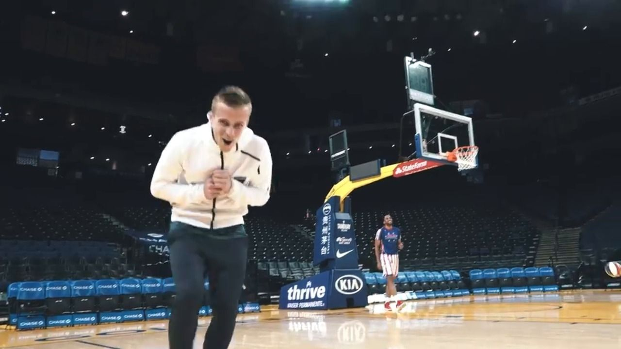 Thompson's trick shots with the Globetrotters - Via Earthquakes