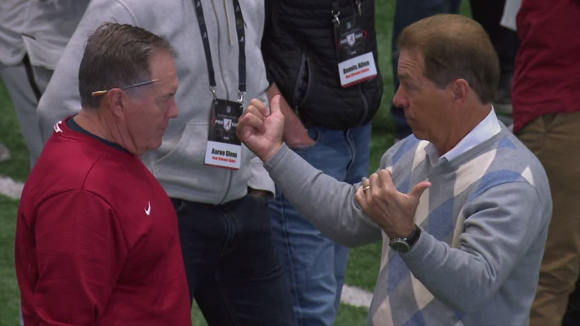 Saban, Belichick mingle at Alabama pro day