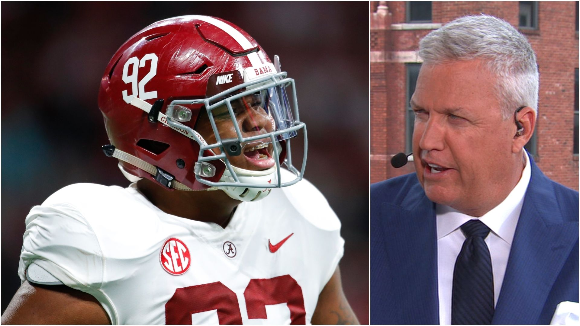 Ryan considers Quinnen Williams as the top player in the draft