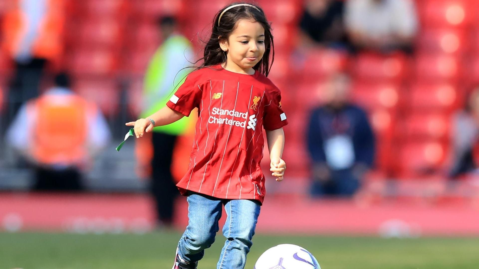Salah's daughter scores a goal for the Anfield crowd