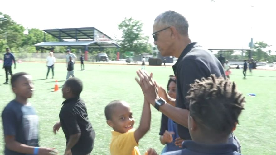 President Obama surprises young scholar-athletes