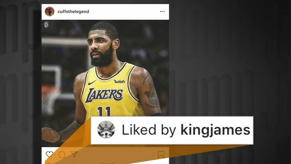 LeBron likes an IG post of Kyrie in a Lakers jersey