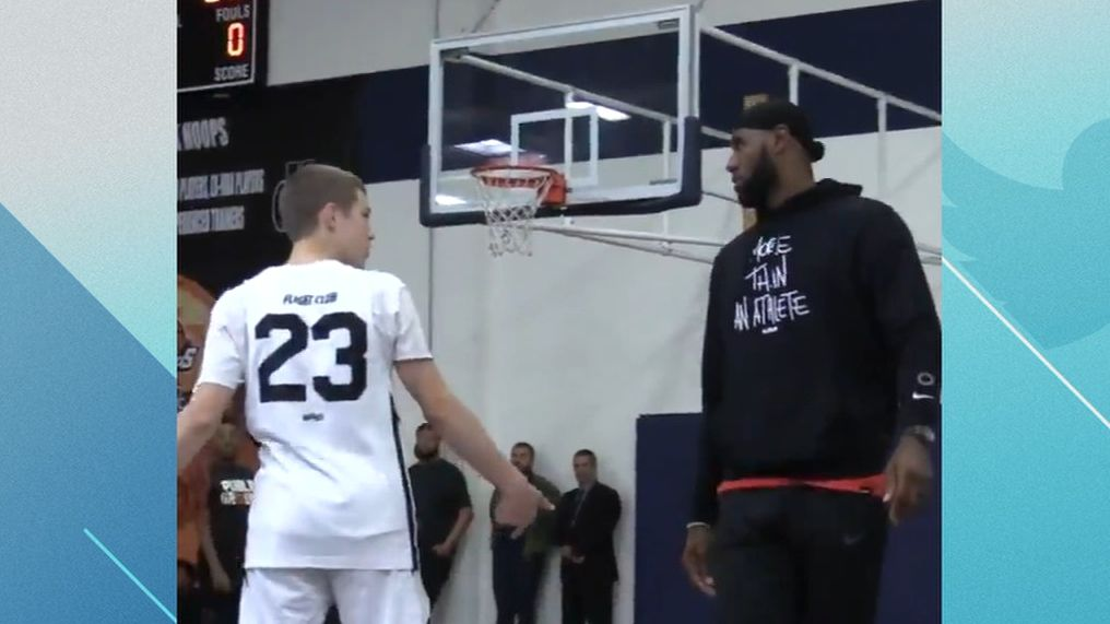 LeBron takes on 14-year-old in 3-point shootout