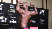 Jones puts on a show at weigh-ins
