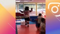 Devils' mascot crashes through window at birthday party