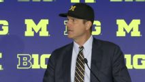 Harbaugh defends his comments about Meyer