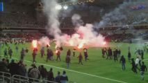Djurgaarden and Union Berlin fans riot during friendly