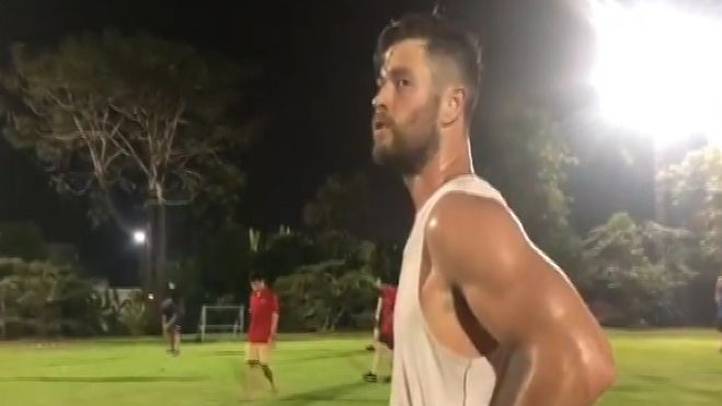 Hemsworth trades in Thor's hammer for a soccer ball
