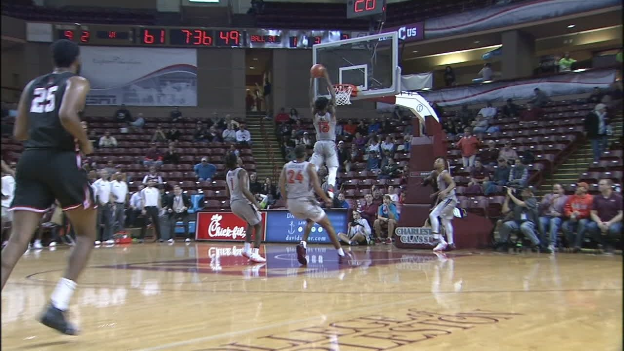 Virginia Tech's Hill catches lob off the backboard & throws down 2-handed slam