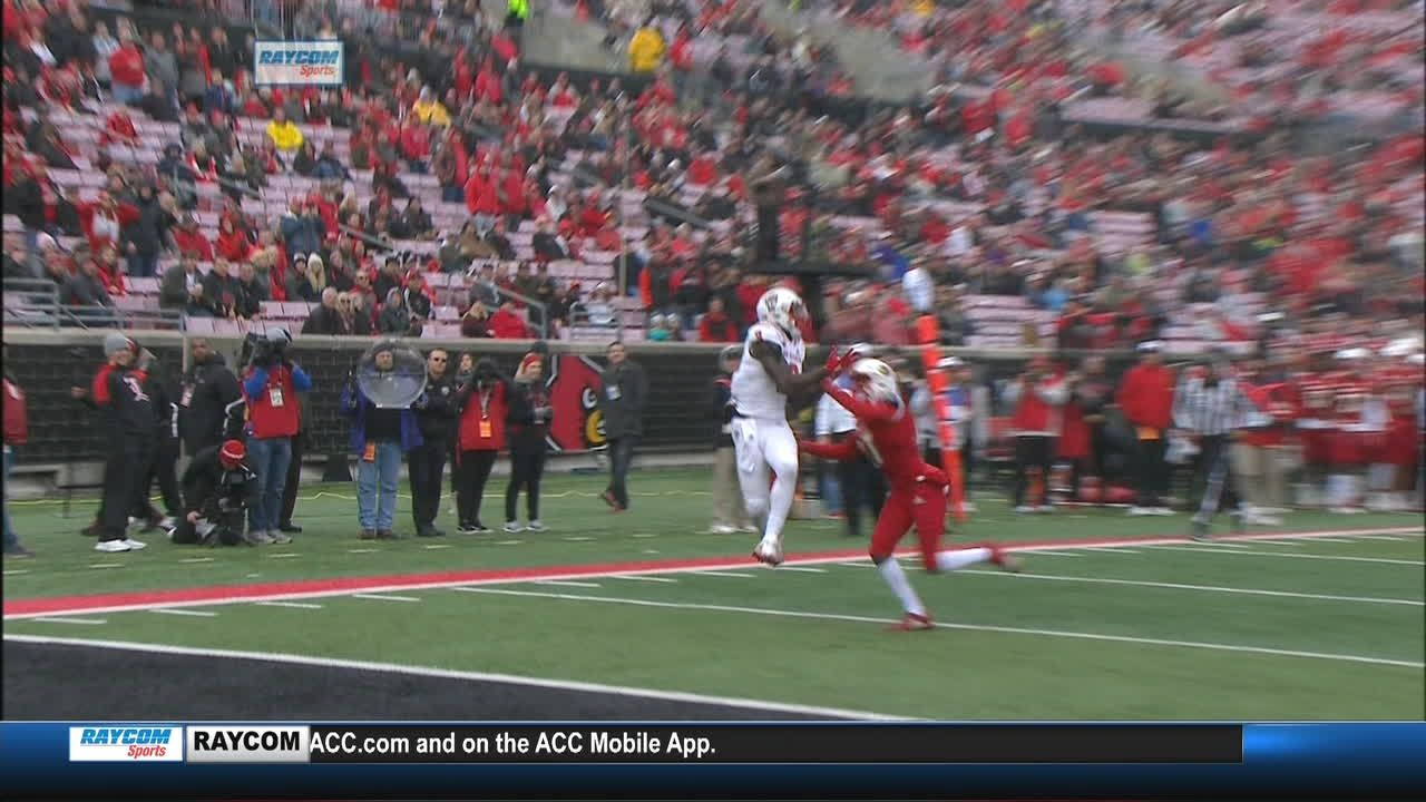 Ryan Finley pass complete to Kelvin Harmon for 25 yds for a TD LOUISVILLE Penalty,  (1 Yards) to the Lvile 2 (Christopher Dunn KICK)