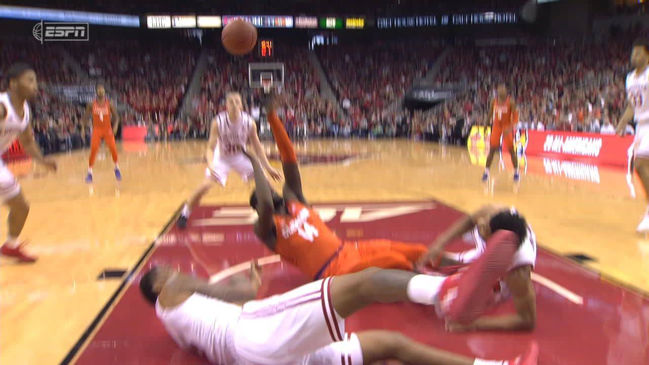 Clemson player tries to shoot from floor