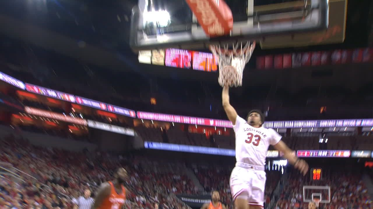 Nwora goes right down the lane for the jam