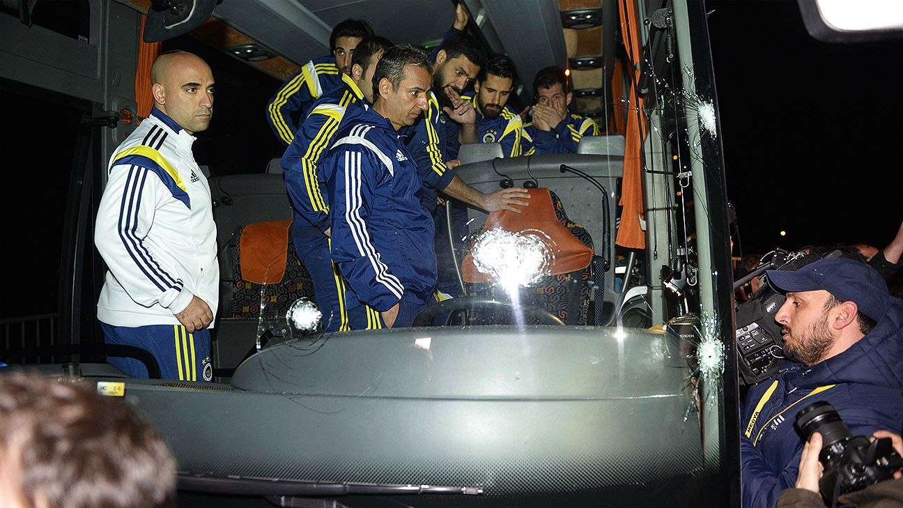 Fenerbahce team bus shot at en route to airport, driver wounded