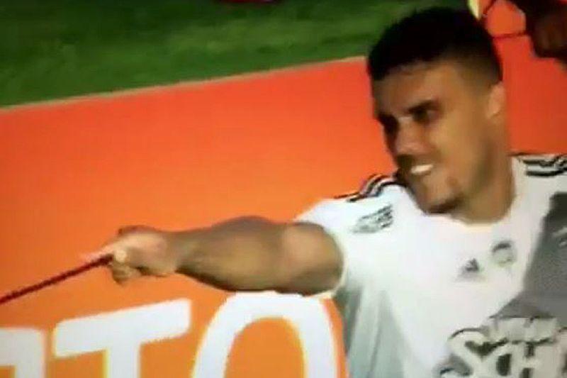 Brazilian striker William 'Harry' Pottker celebrates goal with magic wand