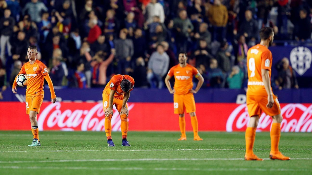 Malaga relegated for first time in 10 years after late loss to Levante
