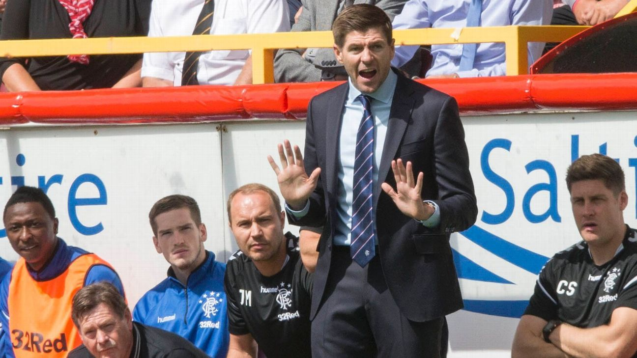 Steven Gerrard denied win in first Rangers game by late Aberdeen goal
