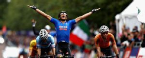 Matteo Trentin wins European road race title in damp Glasgow