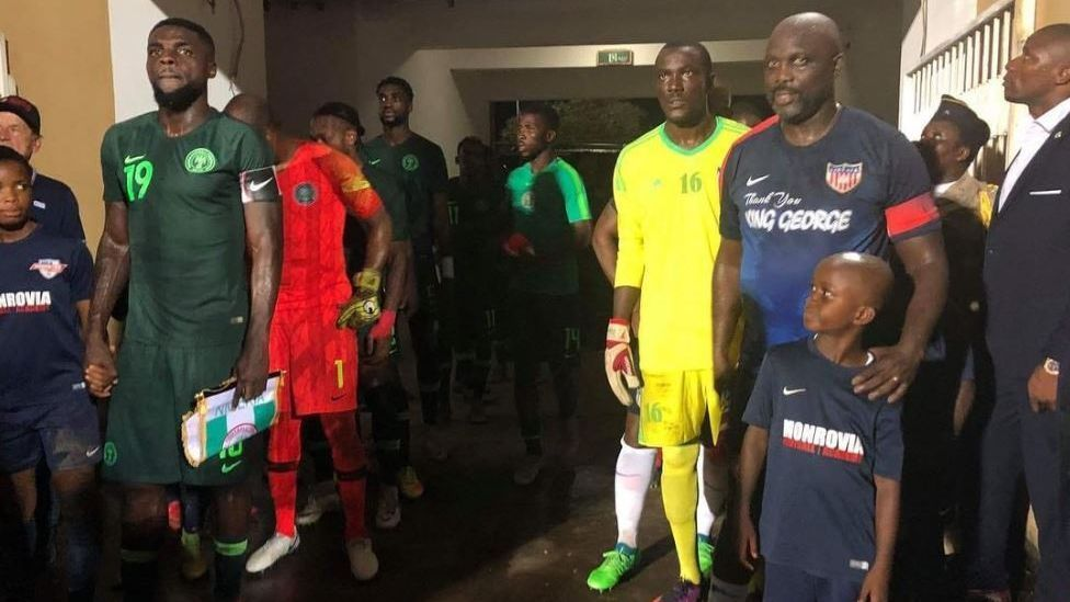 Liberia President George Weah, 51, makes surprise appearance in friendly vs. Nigeria