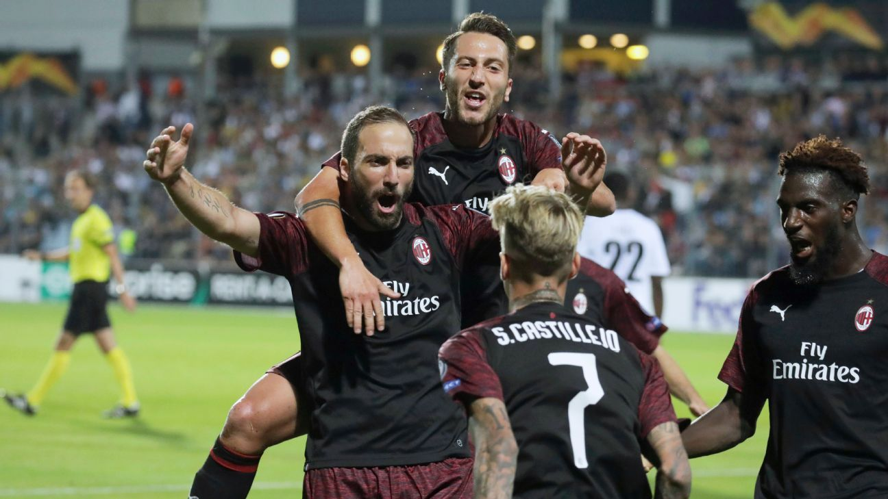 Gonzalo Higuain lifts AC Milan to 1-0 win over Luxembourg side Dudelange