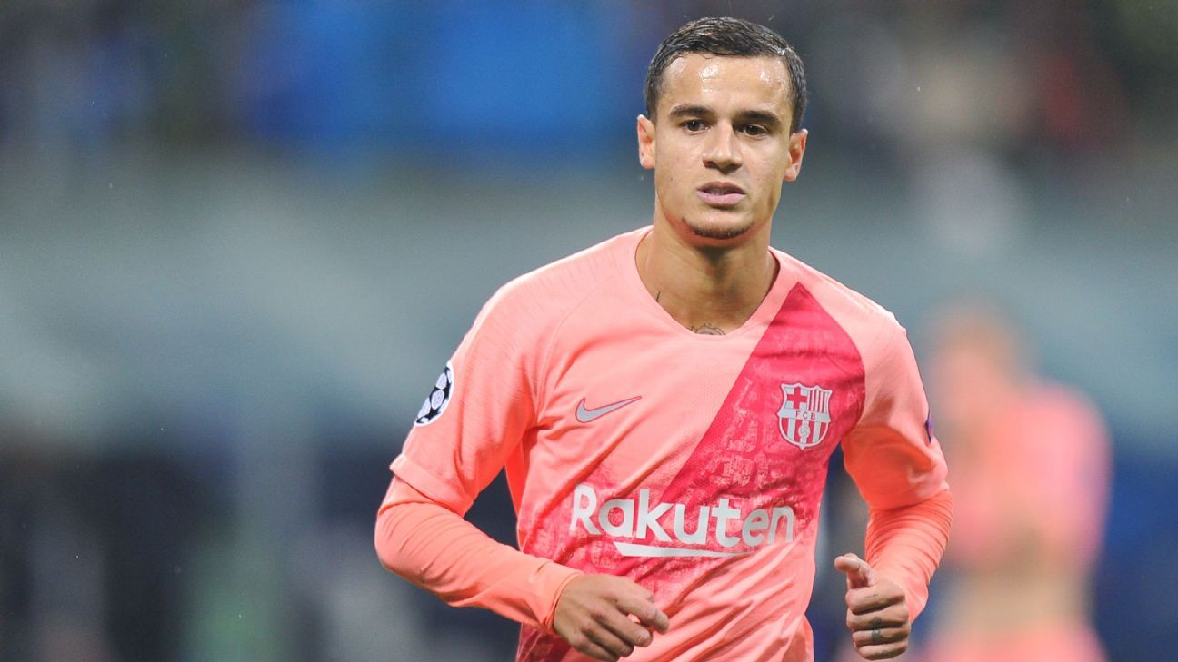 Barcelona's Philippe Coutinho out for three weeks with thigh injury