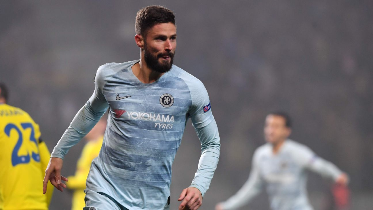 Olivier Giroud's goal secures Europa knockout stage for Chelsea