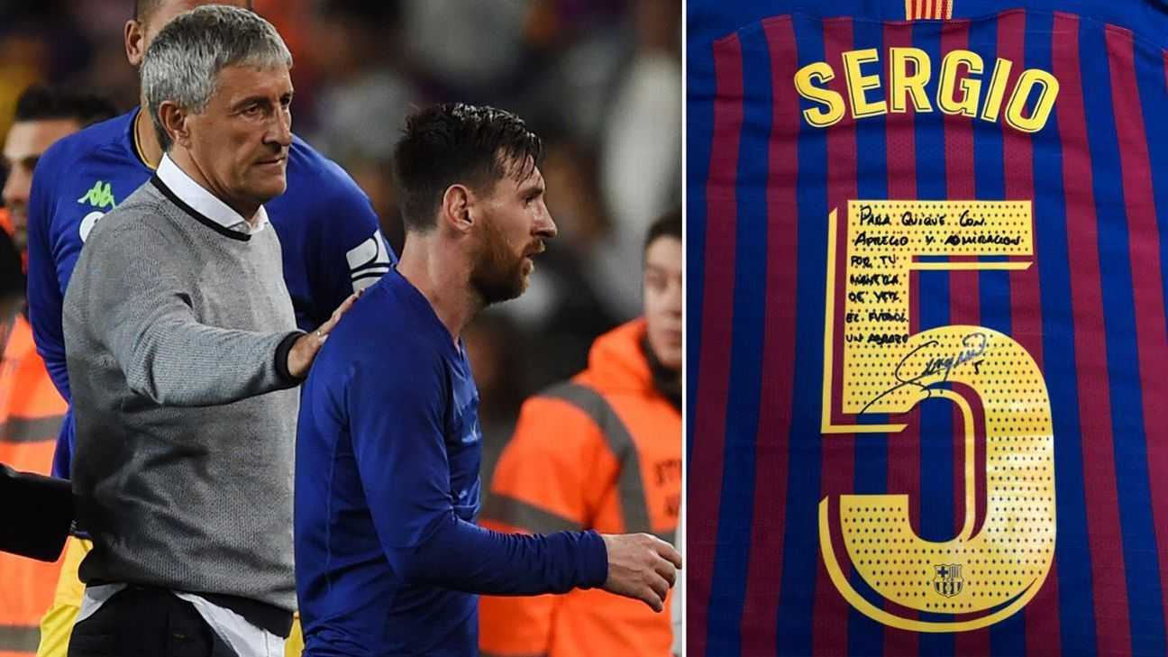 Barcelona's Sergio Busquets gives signed shirt to Betis coach Quique Setien, boss tipped for Camp Nou