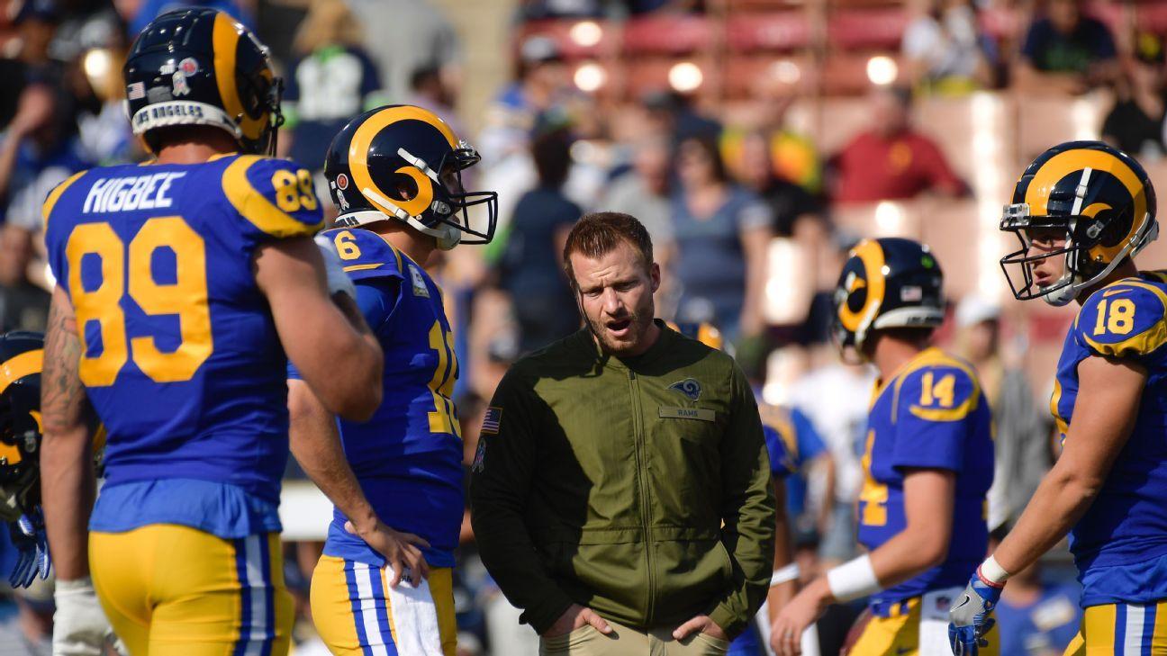 """Sean McVay reconoce que Rams han """"robado"""" jugadas a los Chiefs"""