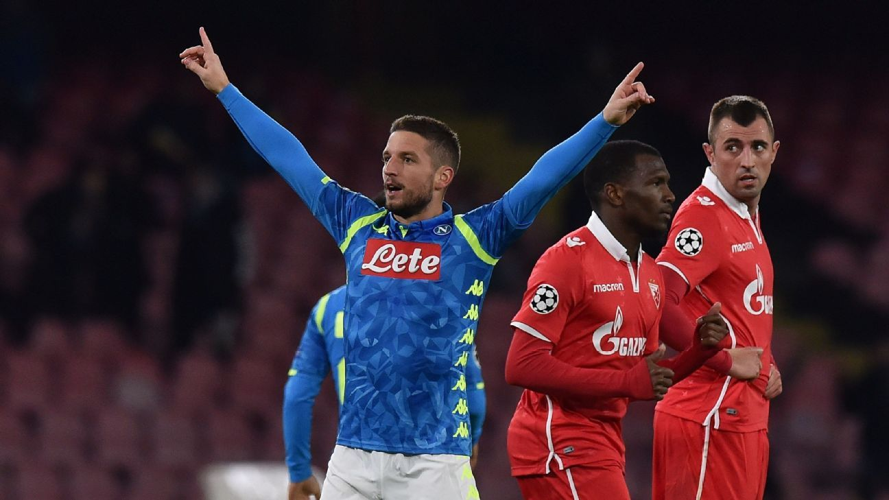 Napoli beat Red Star with Dries Mertens brace to stay atop Group C