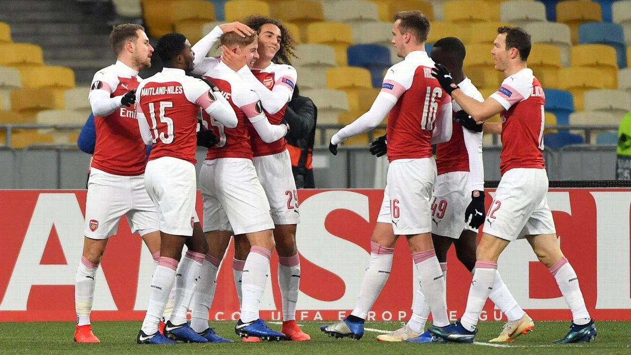 Arsenal youngsters thrash Vorskla to stay top of Europa League Group E