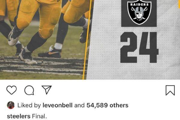 Le'Veon Bell 'likes' Instagram post showing Steelers-Raiders final score