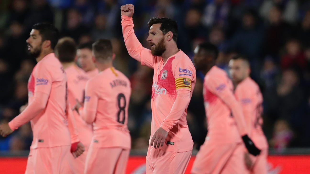 Messi, Suarez score as Barcelona increase La Liga lead to five points