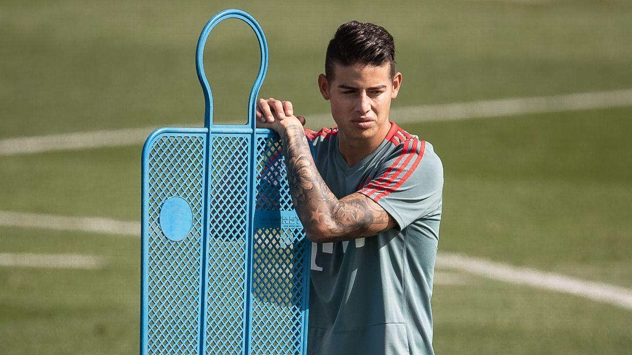 James no terminó la práctica por una molestia y es duda en Bayern