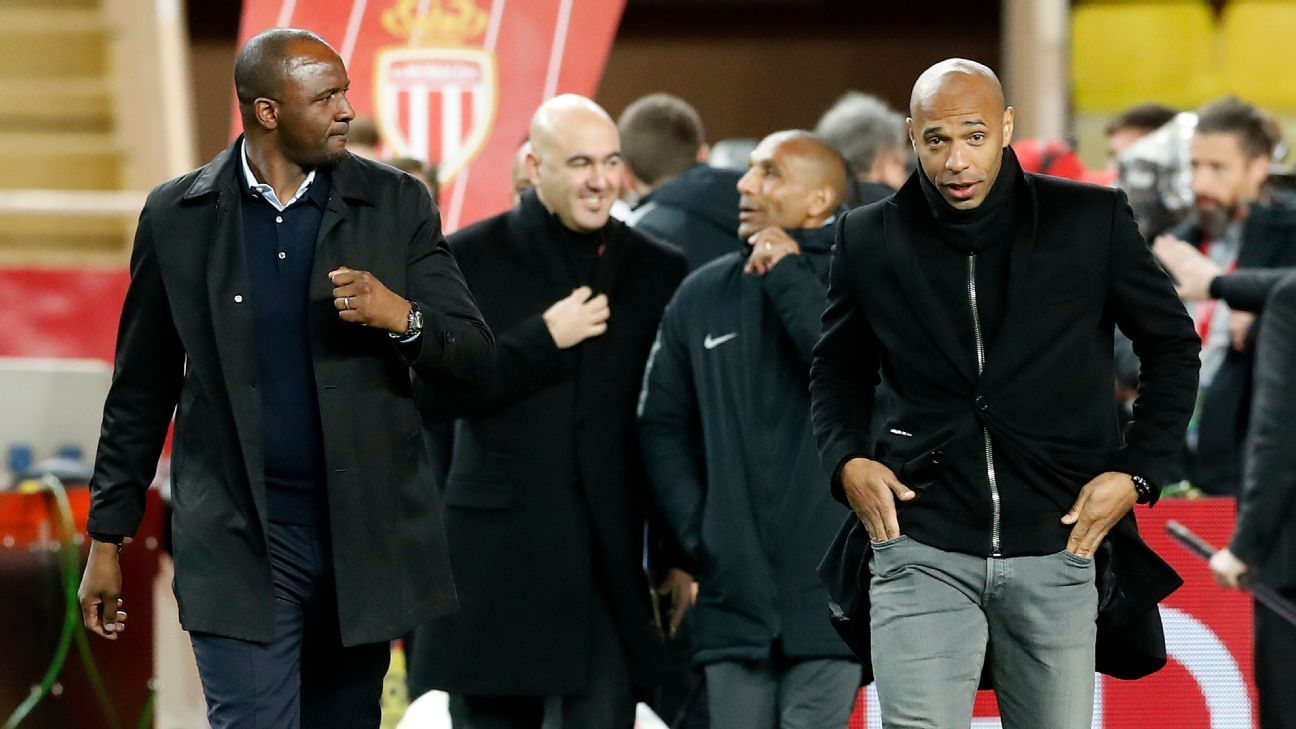 Thierry Henry's Monaco draws Patrick Vieira's Nice in clash of ex-teammates