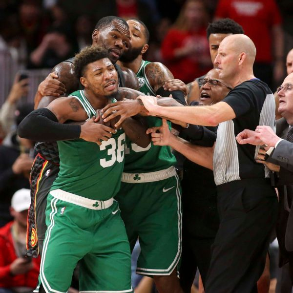 Celtics' Marcus Smart fined $35,000 for going after Hawks' DeAndre' Bembry