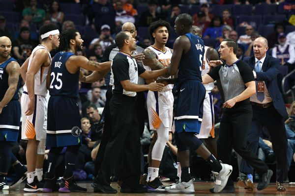 Devin Booker, Gorgui Dieng tossed after altercation in Wolves-Suns