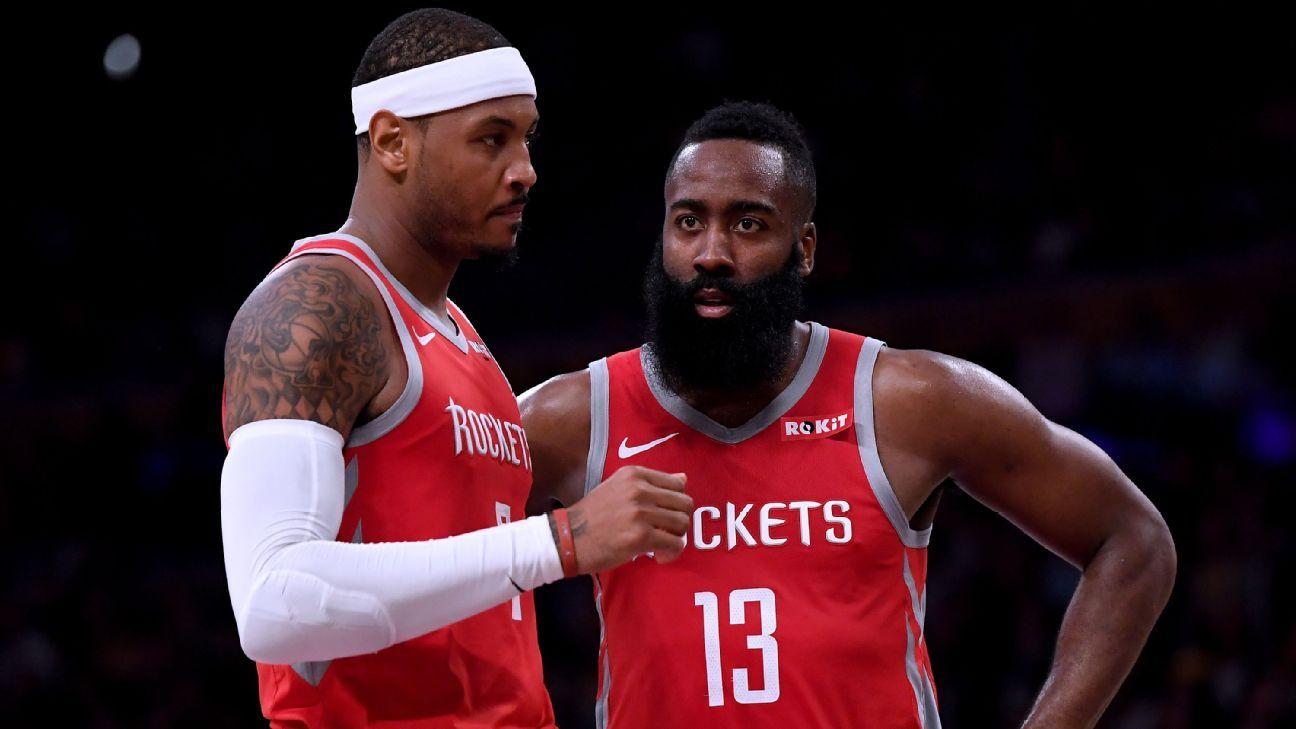 Harden diz que Carmelo é 'um dos melhores da história' e pede nova chance para o ala na NBA: 'Ele ama o basquete'