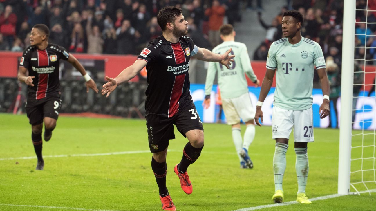Bayern slip seven points behind Dortmund with loss at Leverkusen