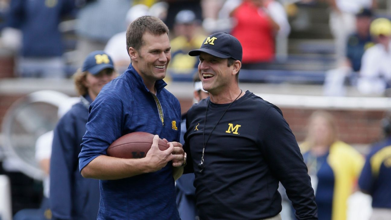 Jim Harbaugh pide estatua para Tom Brady en la Universidad de Michigan